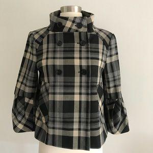 Zara Plaid Blazer Jacket Peacoat Sz S